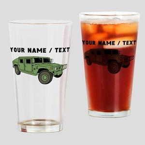 Custom Green Military Humvee Drinking Glass