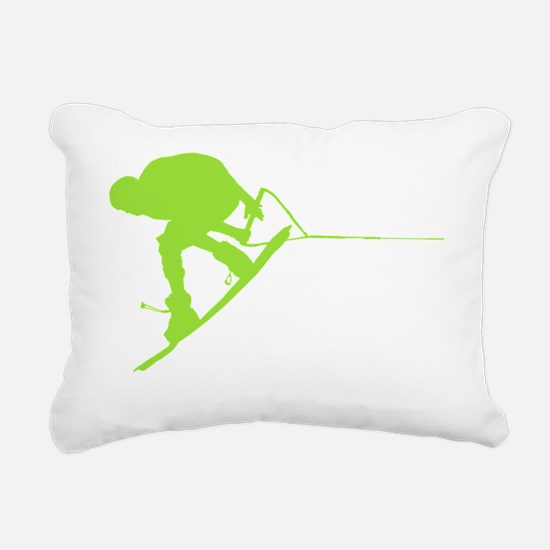 Green Wakeboard Back Spi Rectangular Canvas Pillow