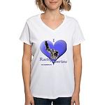 I Love Racing Siberians Women's V-Neck T-Shirt