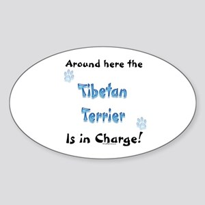 Tibetan Terrier Charge Oval Sticker