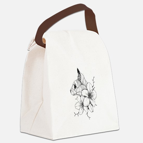 Sphynx Cat and Sakura Canvas Lunch Bag