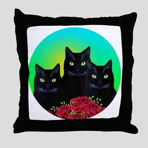 Black cats red roses Throw Pillow