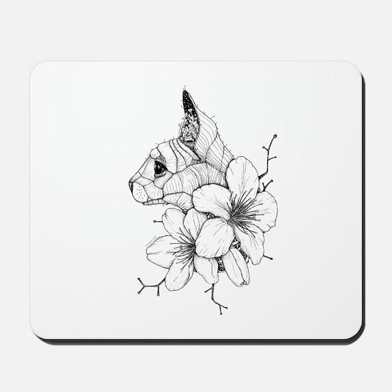 Sphynx Cat and Sakura Mousepad