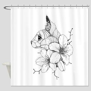 Sphynx Cat and Sakura Shower Curtain