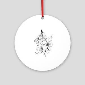 Sphynx Cat and Sakura Round Ornament