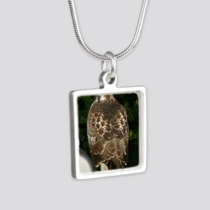 Hawk10x8a Silver Square Necklace