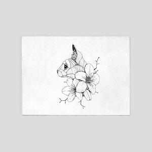 Sphynx Cat and Sakura 5'x7'Area Rug