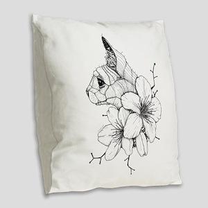 Sphynx Cat and Sakura Burlap Throw Pillow