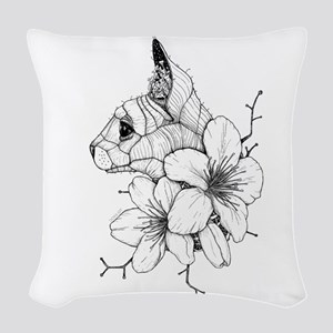 Sphynx Cat and Sakura Woven Throw Pillow