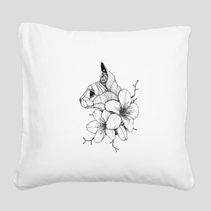 Sphynx Cat and Sakura Square Canvas Pillow