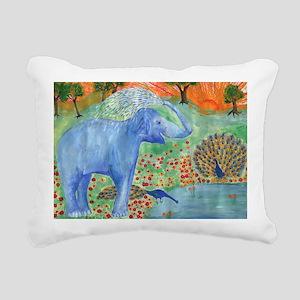elephant squirting water Rectangular Canvas Pillow