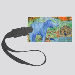 elephant squirting water Large Luggage Tag