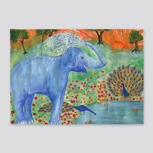 elephant squirting water 5'x7'Area Rug