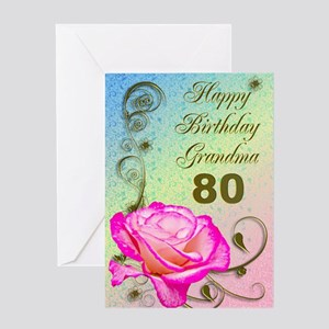 80th Birthday Card For Grandma Elegant Rose Greet