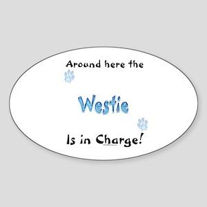Westie Charge Oval Sticker