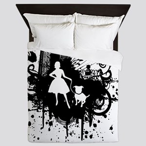 Urban Girl and Dog Final1 white Queen Duvet