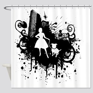 Urban Girl and Dog Final1 white Shower Curtain