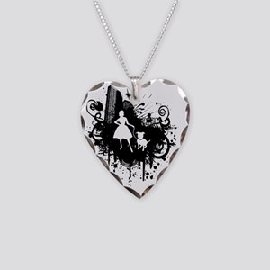 Urban Girl and Dog Final1 whi Necklace Heart Charm
