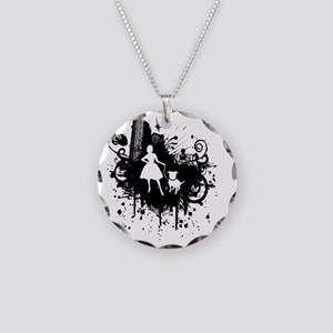 Urban Girl and Dog Final1 wh Necklace Circle Charm