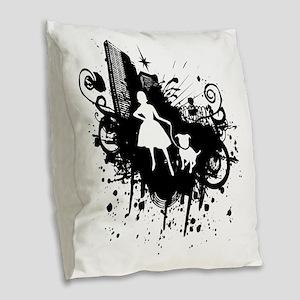 Urban Girl and Dog Final1 whit Burlap Throw Pillow
