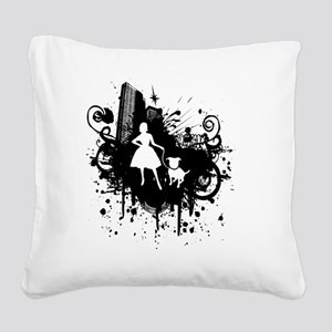Urban Girl and Dog Final1 whi Square Canvas Pillow