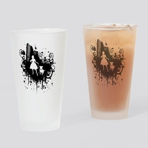 Urban Girl and Dog Final1 white Drinking Glass