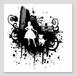 "Urban Girl and Dog Final Square Car Magnet 3"" x 3"""