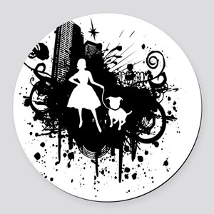 Urban Girl and Dog Final1 white Round Car Magnet