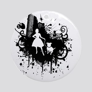 Urban Girl and Dog Final1 white Round Ornament
