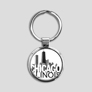 CHICAGO Skyline Round Keychain