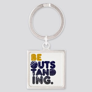 Navy  Gold Be Outstanding Square Keychain