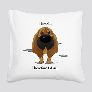 BloodhoundDroolLight Square Canvas Pillow