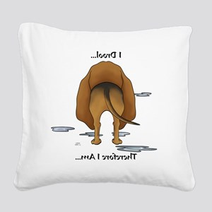 BloodhoundDroolMirrorLight Square Canvas Pillow