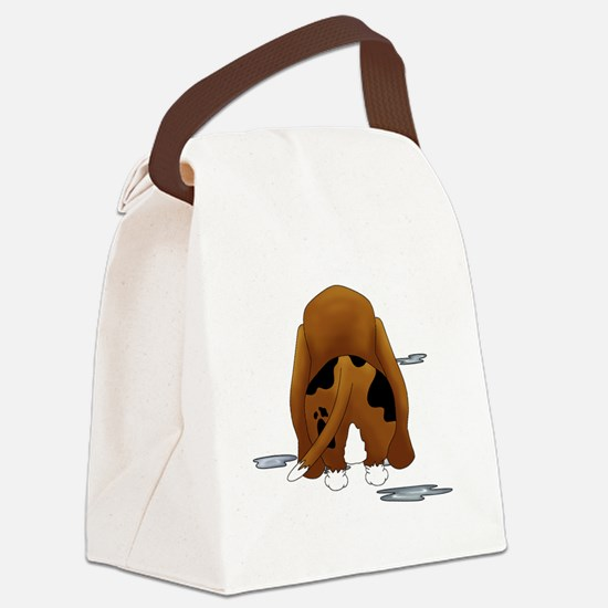 BassetDroolMirrorDark Canvas Lunch Bag