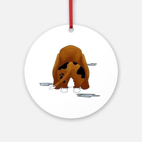 BassetDroolMirrorDark Round Ornament