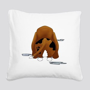 BassetDroolMirrorDark Square Canvas Pillow