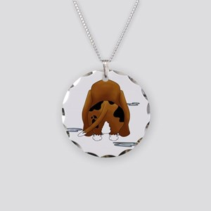 BassetDroolMirrorDark Necklace Circle Charm
