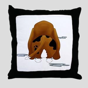 BassetDroolMirrorDark Throw Pillow