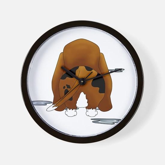 BassetDroolMirrorDark Wall Clock