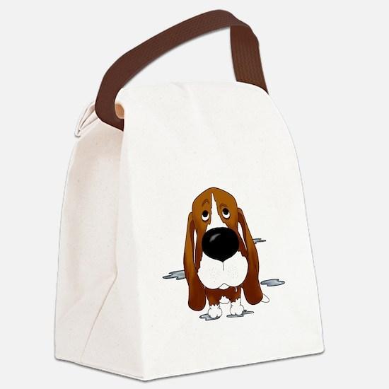 BassetDroolDark Canvas Lunch Bag