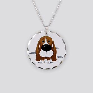 BassetDroolDark Necklace Circle Charm
