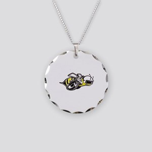 Super Bee White  Necklace Circle Charm