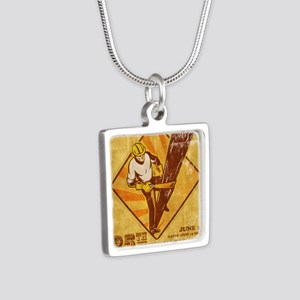 power lineman electrician  Silver Square Necklace