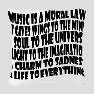music is a moral law master 2  Woven Throw Pillow