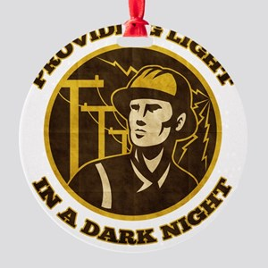 power lineman electrician repairman Round Ornament