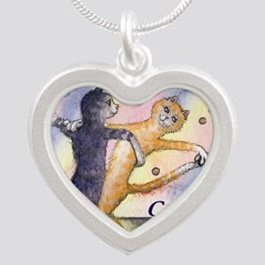 cats 1 cov ballroom cats Silver Heart Necklace