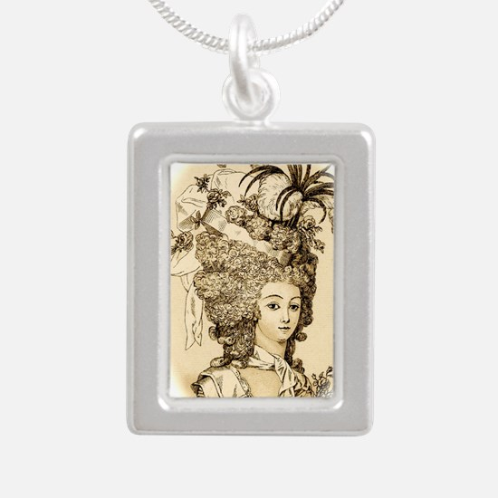 Versailles tan  Silver Portrait Necklace
