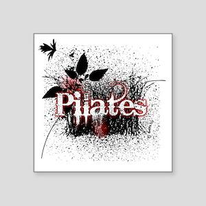 "pilates organic 1 black cop Square Sticker 3"" x 3"""