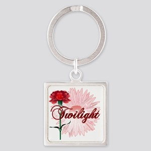 twilight with pink flower and red  Square Keychain