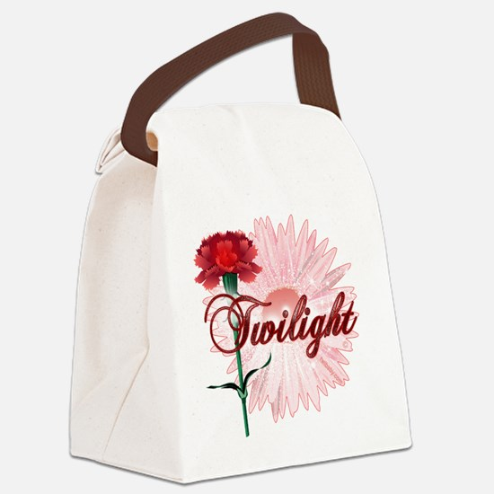 twilight with pink flower and red Canvas Lunch Bag